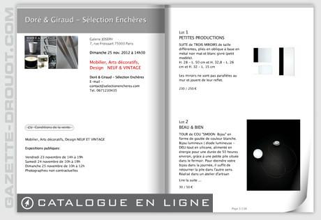 Catalogue Sélection 1, Novembre 2012, vente aux enchères inaugurale