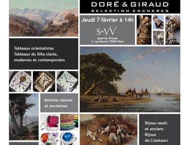 Doré & Giraud Sélection Enchères vente 7 février 2013 bijoux neufs et anciens - bijoux de créateurs - montres neuves et d'occasion - Tableaux orientalistes - tableaux XIXe, XXe et contemporains