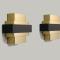 ATELIER MODERNISTE - PAIRE de grandes APPLIQUES en aluminium noirci et doré- H.22 - L.30 cm - Modèles neufs - 744 €